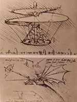 Leonardo da Vinci, helicopter and lifting wing